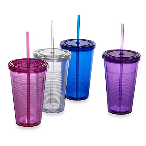 16 oz. Reusable Double Wall Beverage Cup w/Straw and Lid by WaterU® 2Go