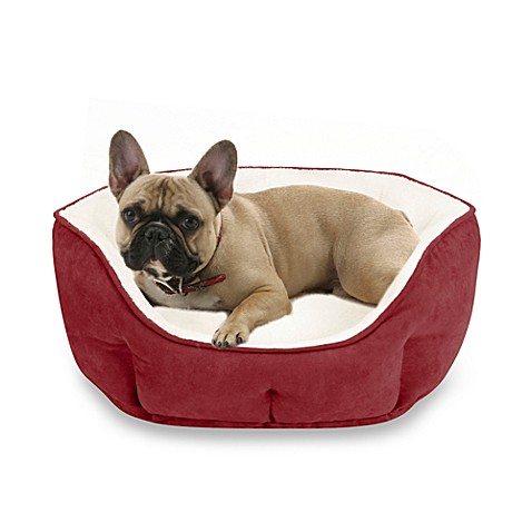 Soft Touch Tufted Euro Cuddler Pet Bed in Ruby
