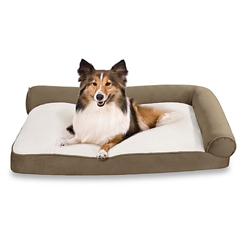 Soft Touch Right Angle Bolster Pet Lounger in Sage/Ivory