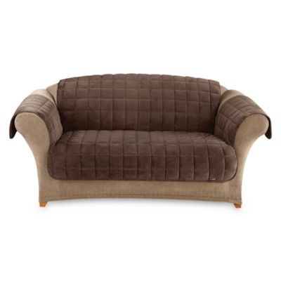 Sure Fit® Deluxe Pet Chocolate Brown Furniture Loveseat Throw Cover