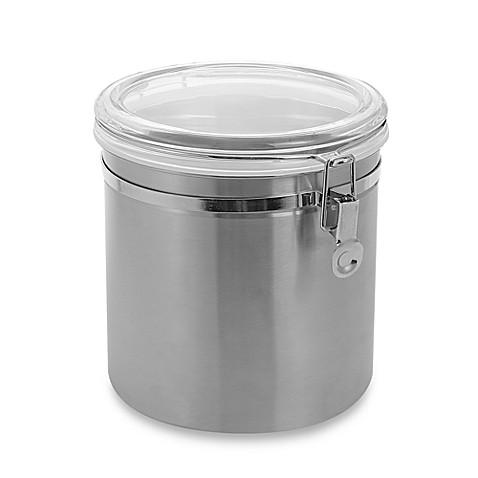 oggi brushed stainless steel canister www oggi 1 5 qt acrylic airtight canister oggi 5358