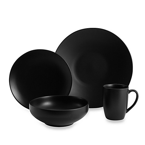 Gibson Home Paradiso 16-Piece Dinnerware Set in Black - BedBathandBeyond.com