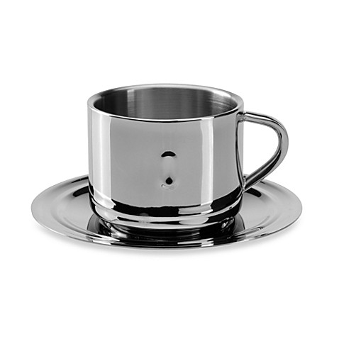 BergHOFF® Stainless Steel Coffee Cup with Saucer