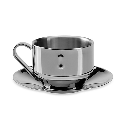 BergHOFF® Stainless Steel Straight Cappuccino Cup with Saucer