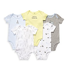 Carter's® Short Sleeve Blue/Grey Bodysuits (5-Pack)