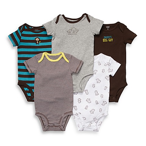 Carter's® Short Sleeve 5-Pack Brown-Turquoise Bodysuits