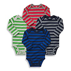 Carter's® Long Sleeve 4-Pack Striped Bodysuits