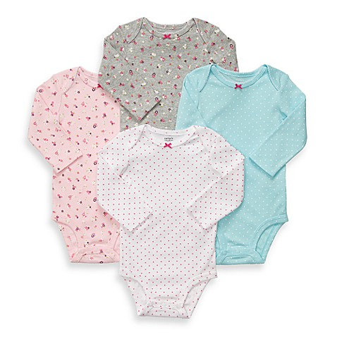 Carter's® Long Sleeve 4-Pack Floral/Dots Bodysuits