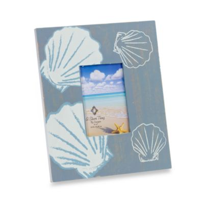 Blue Driftwood 4-Inch x 6-Inch Frame with Shell Design