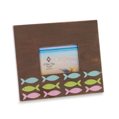 Brown Driftwood 4-Inch x 6-Inch Frame with Fish