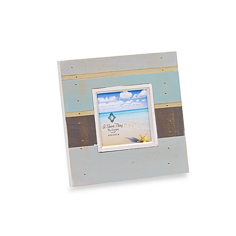 4-Inch x 4-Inch Distressed Frame in Multi Colored Blue Stripes