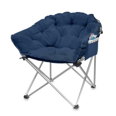 Club Chair with Pocket in Blue Microsuede