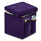 Sit and Store Folding Storage Ottoman in Bling