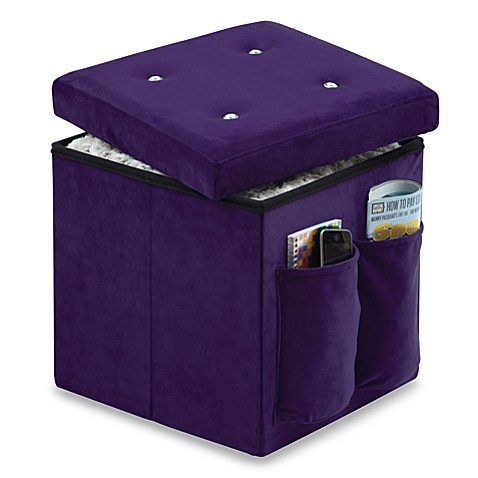 Sit and store folding storage ottoman in bling bed bath for Ottoman to sit on