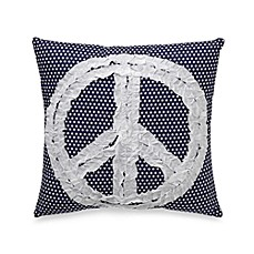 Preppy Peace Square Toss Pillow