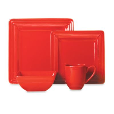 Laurie Gates Dekko 4-Piece Dinnerware Set in Scarlet