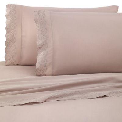 Microfiber Lace Twin Sheet Set in Linen