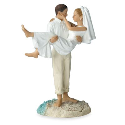 Beach Wedding Caucasian Couple Figurine