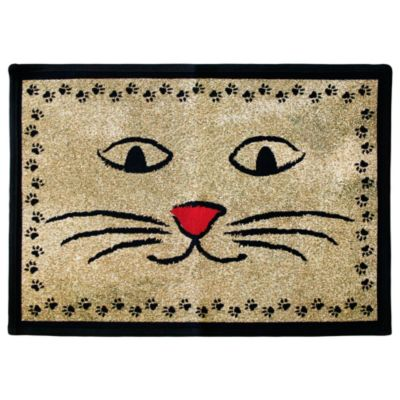 PB Paws Pet Collection Kitty Whiskers 19-Inch x 27-Inch Pet Mat in Gold/Black