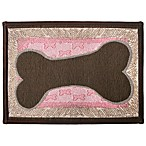 PB Paws Pet Collection Bone Sketch 13-Inch x 19-Inch Pet Mat in Woodland