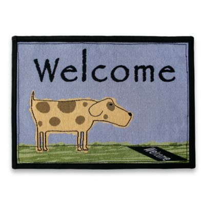 PB Paws Pet Collection Welcome Dog 19-Inch x 27-Inch Pet Mat in Multi/Blue Water
