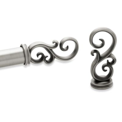 Kirsch Antique Silver Scroll Pair of Finials