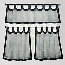 Eco Leno Window Curtain Tiers, 100% Cotton - Charcoal