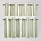 Cafe Stripe Sage Window Curtain Tiers, 100% Cotton