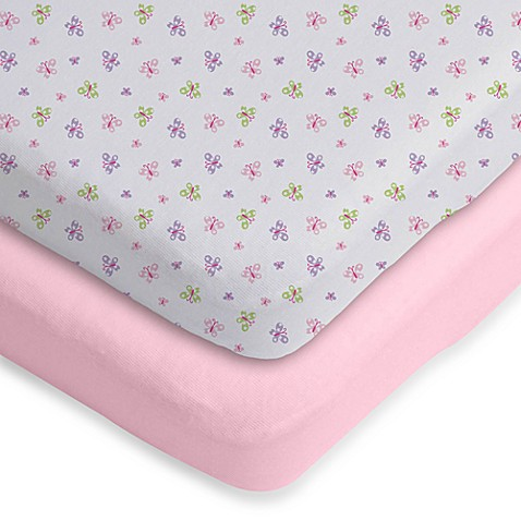 Gerber® 2-Pack Knit Bassinet Sheet in Pink Solid & Butterfly Print
