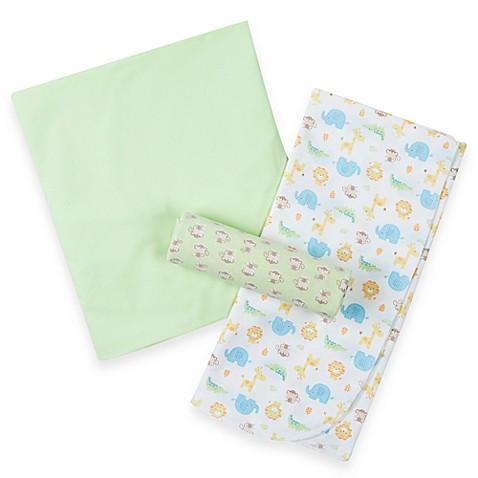 Gerber 174 Crib Sheet Amp 2 Blanket Set Green Amp Jungle Print