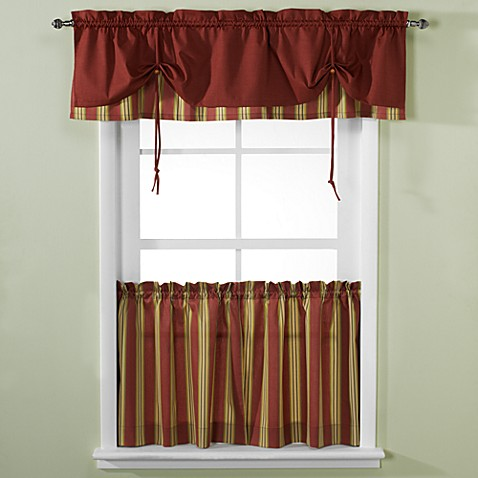 Versa-Tie® Lisa Stripe Window Curtain Tiers and Valance