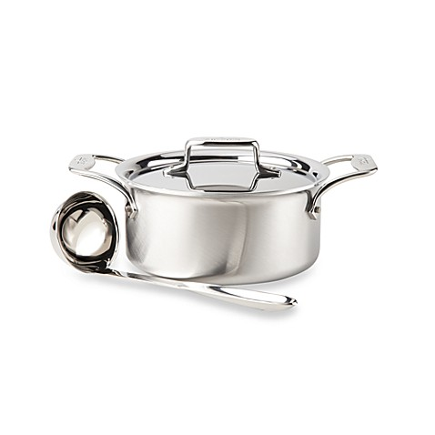 All-Clad d5 Brushed Stainless Steel 3-Quart Covered Soup Pot with Ladle