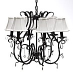 Crystal and Wrought Iron 6-Light Chandelier