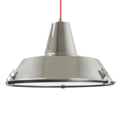 Dock Pendant Lamp in Chrome with Red Cable