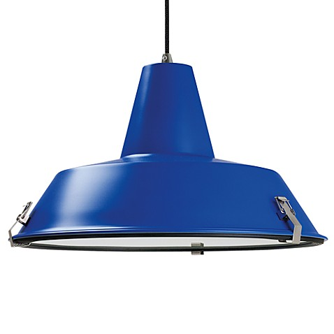 Aluminum Dock Pendant Lamp in Blue with Black Cable