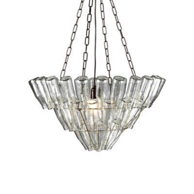 Leitmotiv Large Glass Bottle Chandelier Nickel