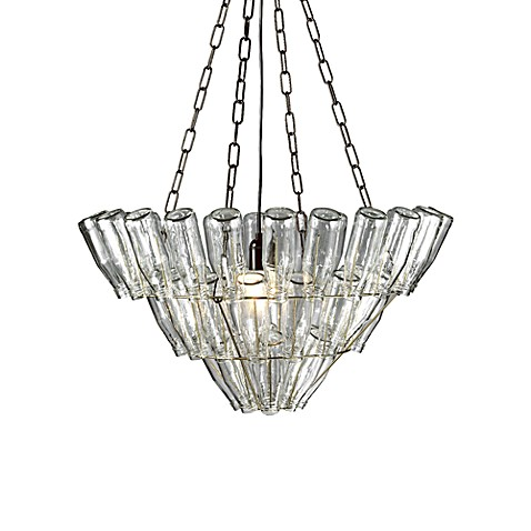 Large Glass Bottle Chandelier Nickel