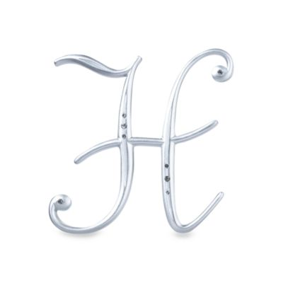 "Lillian Rose™ Silver Letter ""H"" Monogram with Rhinestones"