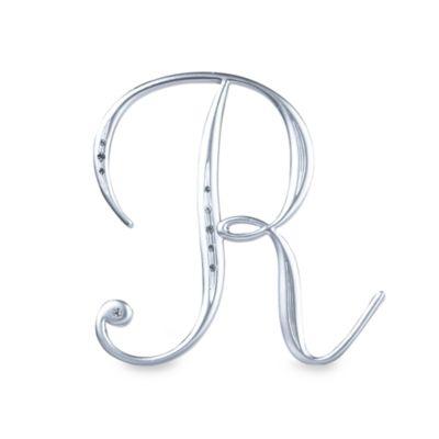 "Lillian Rose™ Silver Letter ""R"" Monogram with Rhinestones"