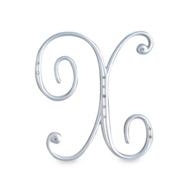 "Lillian Rose™ Silver Letter ""X"" Monogram with Rhinestones"