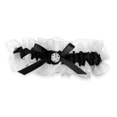 Black and White Garter with Rhinestone