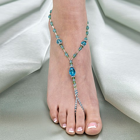 Lillian Rose™ Beaded Foot Jewelry Pair in Aqua