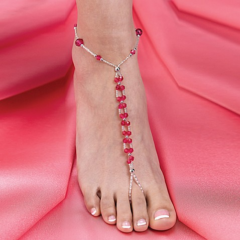 Lillian Rose™ Beaded Foot Jewelry Pair in Hot Pink