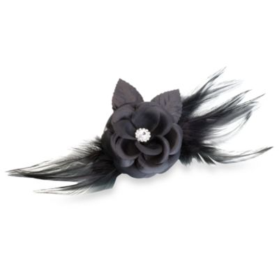Lillian Rose™ Flower and Feather Clip/Pin in Black