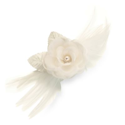 Ivory Flower and Feather Clip/Pin