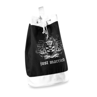 Just Married Beach Bag in Black