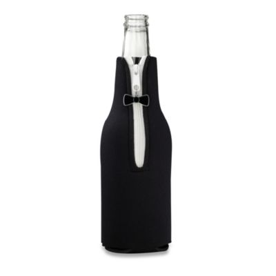 Black Bottle Cover for Him with Black Tie