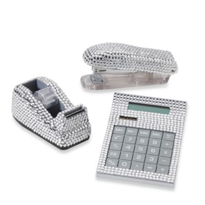 Rhinestone Desk Set in Silver