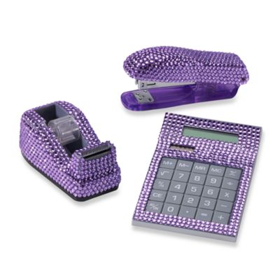 Rhinestone Desk Set in Purple