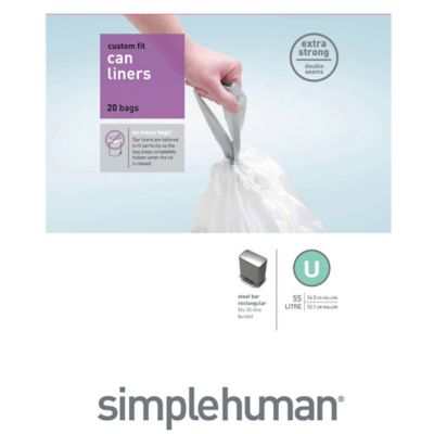 simplehuman® 20-Pack Code U Custom Fit 55-Liter Can Liners
